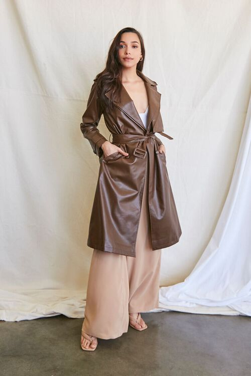 BROWN Faux Leather Trench Coat, image 5