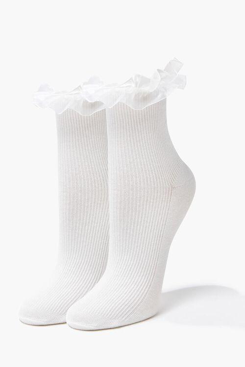 WHITE Ruffle-Trim Crew Socks, image 1