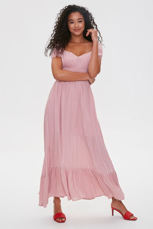 Puff-Sleeve Sweetheart Maxi Dress, image 4
