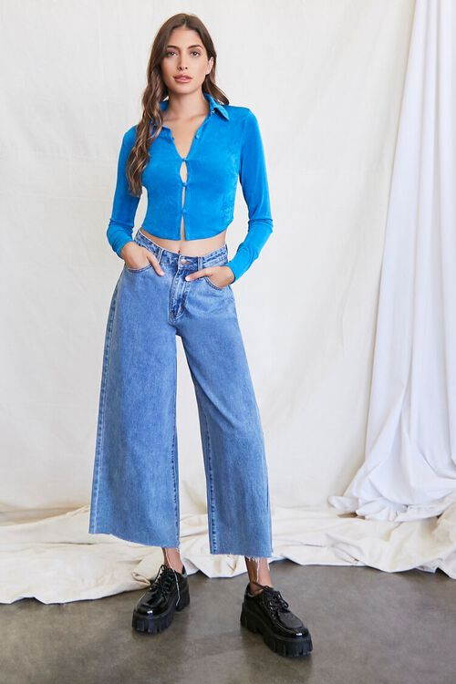 BLUE Cropped Knit Shirt, image 4