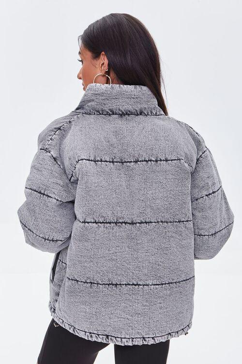 WASHED BLACK Denim Zip-Up Puffer Jacket, image 3