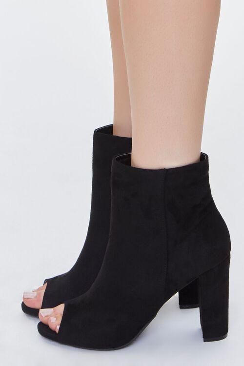 BLACK Peep-Toe Block Heel Booties, image 2
