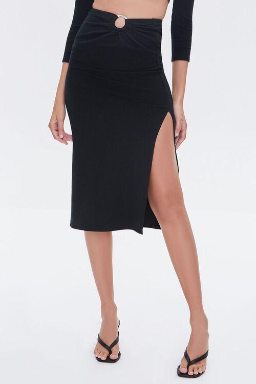 Ruched O-Ring Midi Skirt, image 2