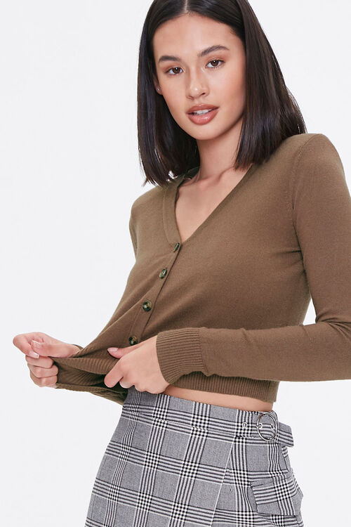 Shoulder-Pad Cardigan Sweater, image 1