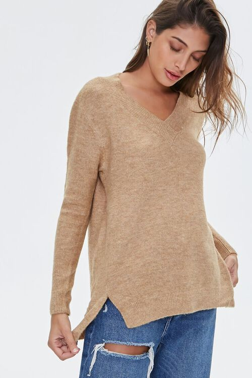 Marled V-Neck Sweater, image 1