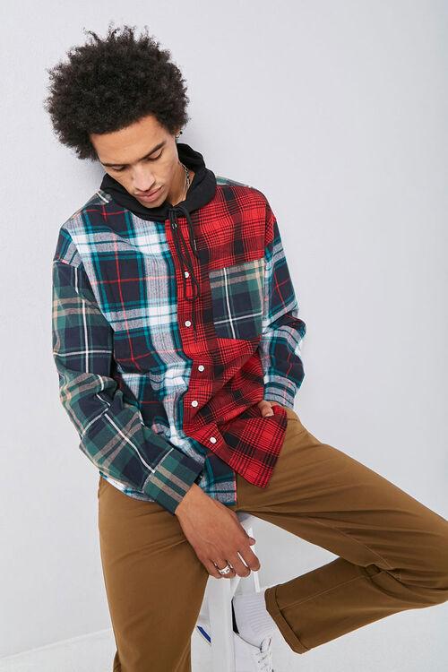 Plaid Patternblock Hooded Shirt, image 1