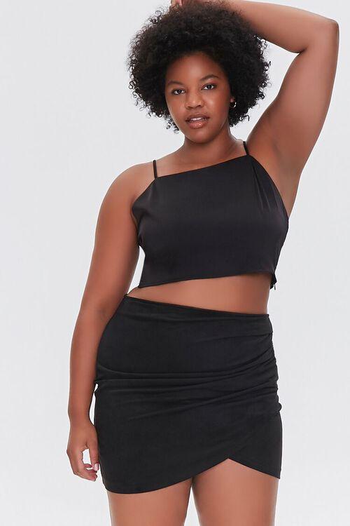 BLACK Plus Size Tulip Mini Skirt, image 1