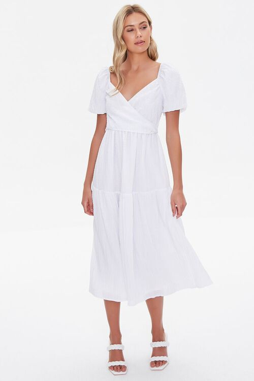 Seersucker Surplice Midi Dress, image 4