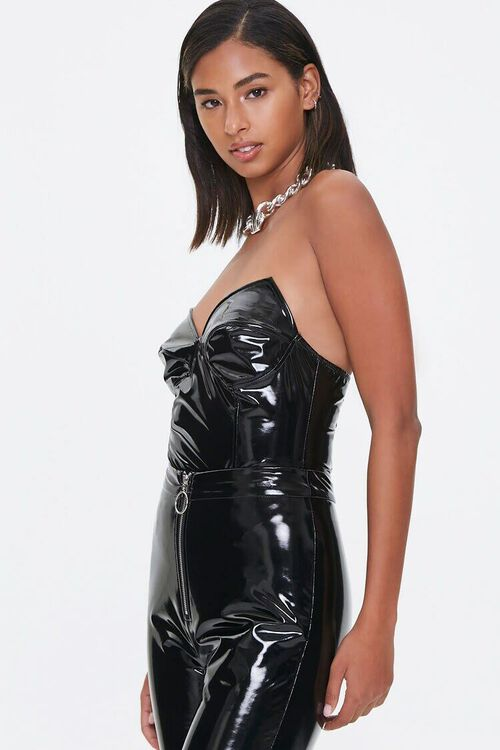 BLACK Vinyl Sweetheart Bodysuit, image 2