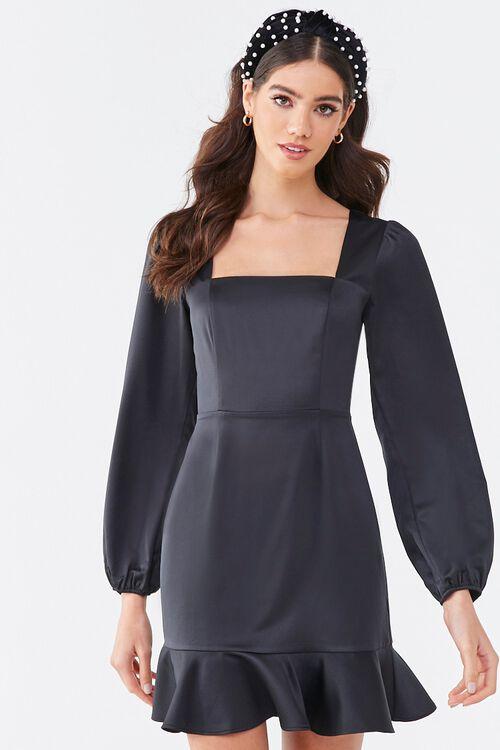 BLACK Flounce Satin Mini Dress, image 1