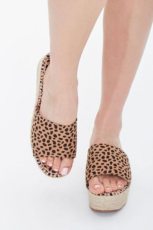 BLACK/BROWN Cheetah Print Espadrille Platform Sandals, image 4
