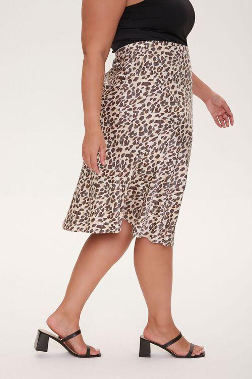 Plus Size Satin Leopard Print Skirt, image 3