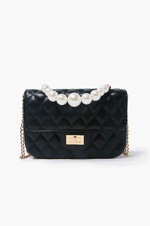 Quilted Faux Pearl Crossbody Bag, image 1