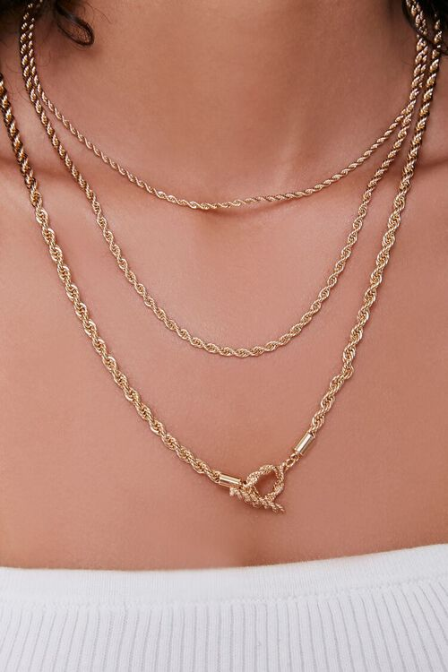 GOLD Twisted Layered Necklace, image 1