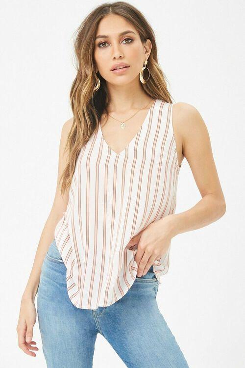 Striped V-Neck Top, image 1