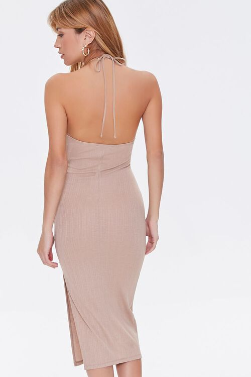 TAUPE Ribbed Knit Halter Dress, image 4