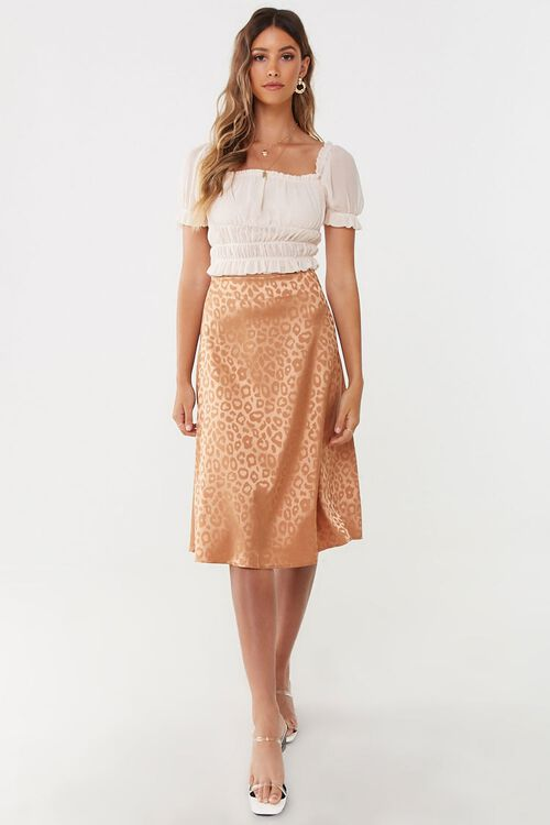Satin Leopard Print Skirt, image 4