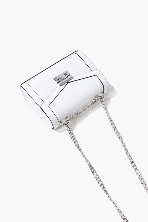 WHITE Structured Piped-Trim Crossbody Bag, image 5