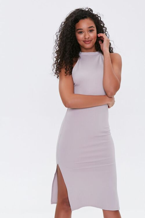 TAUPE High-Neck Bodycon Dress, image 1