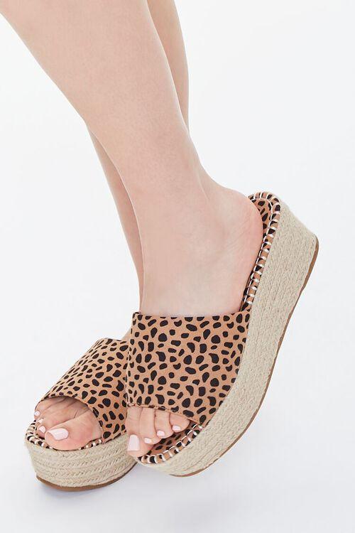 BLACK/BROWN Cheetah Print Espadrille Platform Sandals, image 1