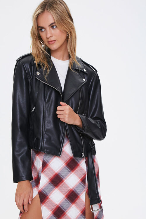 Faux Leather Moto Jacket, image 1