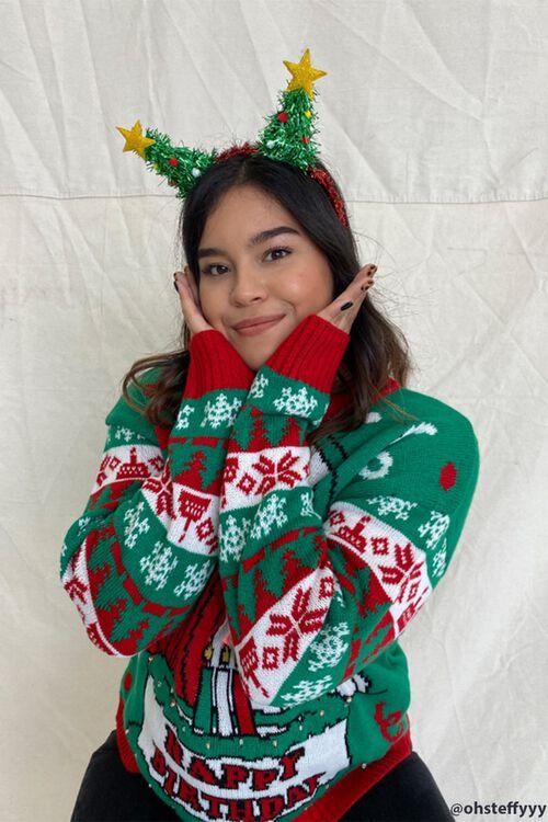 Tinsel Christmas Tree Headband, image 1