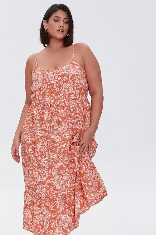 ROSE/MULTI Plus Size Ornate Print Cami Dress, image 1