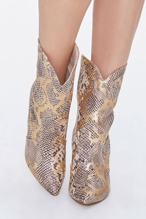 Metallic Faux Snakeskin Booties, image 4