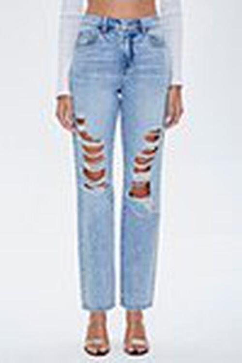 Distressed Rhinestone-Trim Jeans, image 2