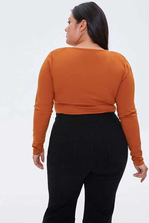 Plus Size V-Neck Long-Sleeve Bodysuit, image 4