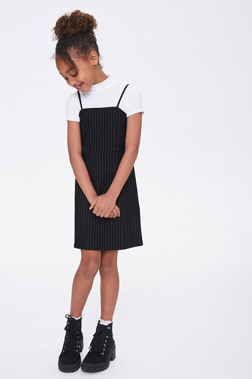 Girls Pinstriped Cami Dress (Kids), image 3