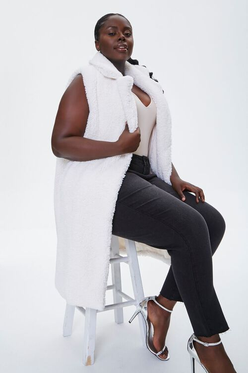 Plus Size Faux Shearling Duster Vest, image 1