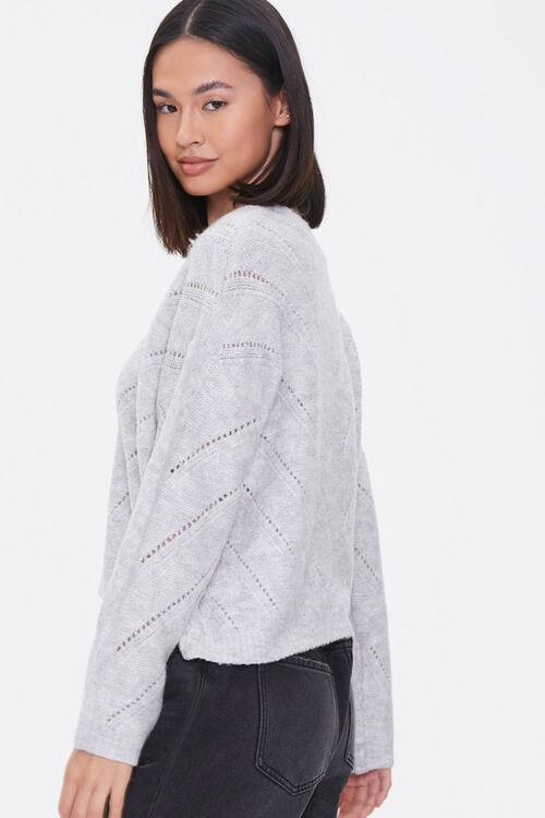 Pointelle Knit V-Neck Sweater, image 2