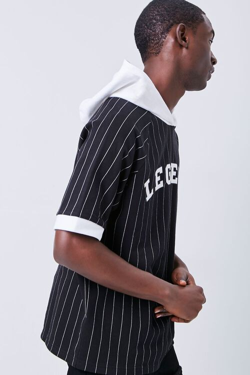 BLACK/WHITE Legend Graphic Striped Hooded Top, image 2