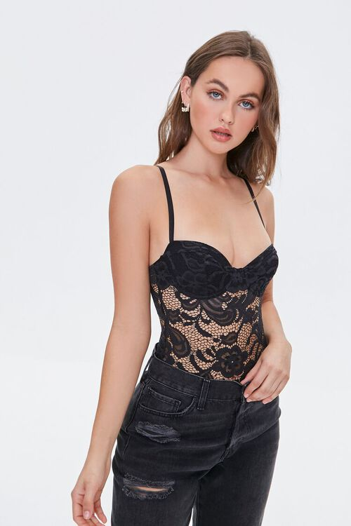 BLACK Embroidered Lace Bodysuit, image 1