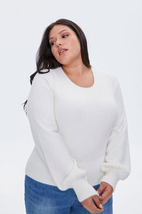 Plus Size Fuzzy Knit Sweater, image 1