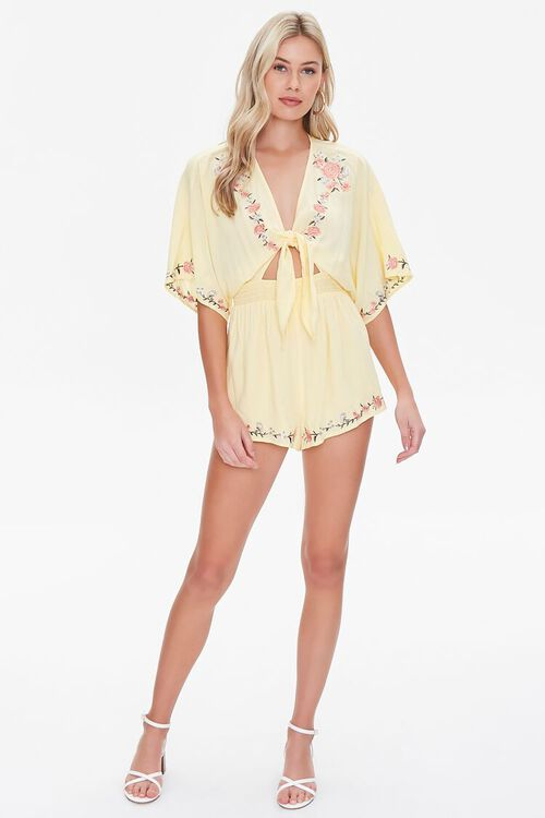 Floral Embroidered Tie-Front Romper, image 4