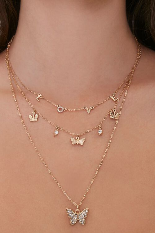 Butterfly & Love Charm Layered Necklace, image 1