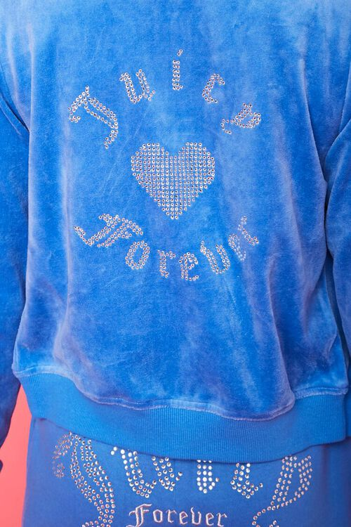 BLUE/SILVER Juicy Couture Velour Zip-Up Jacket, image 6