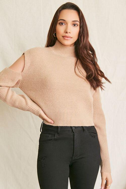 CAMEL Ribbed Cutout Sweater, image 5