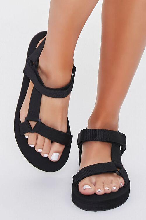 BLACK Strappy Flatform Sandals, image 4