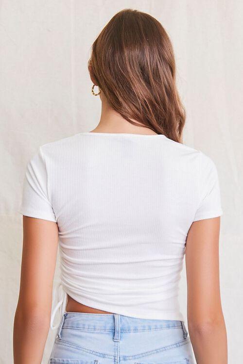 WHITE Ribbed Drawstring Ruched Tee, image 4