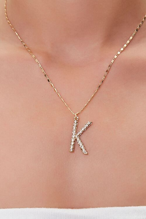 GOLD/K Text Letter Pendant Necklace, image 1