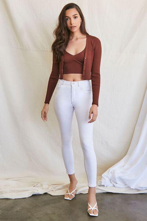 BROWN Ribbed Semi-Cropped Cardigan Sweater, image 4