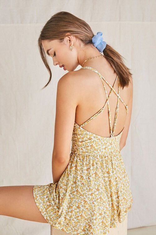 CREAM/YELLOW Floral Strappy-Back Romper, image 1