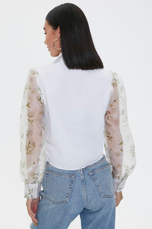 Knotted Floral-Sleeve Shirt, image 3