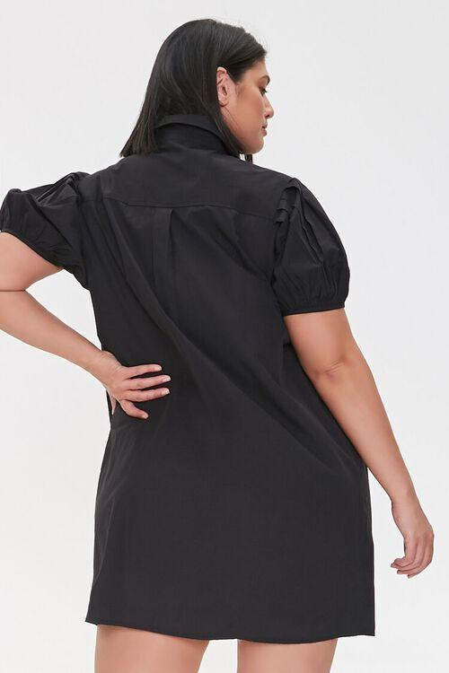 BLACK Plus Size Puff Sleeve Shirt Dress, image 4