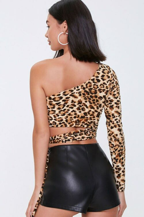 One-Shoulder Leopard Crop Top, image 3
