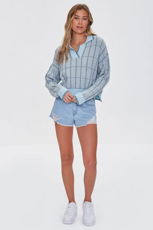 MINT/MULTI Split-Neck Plaid Sweater, image 4