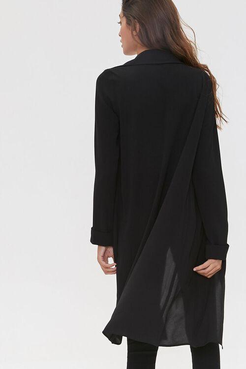BLACK Crepe Drape-Front Trench Jacket, image 3